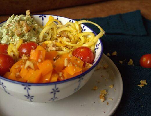Gele courgetti met paprika
